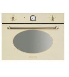 Smeg SF4800MPO Einbau-Kompakt-Mikrowelle, 45cm, Creme-Messing Antik, Nostalgie Design, 7 Programmfunktionen, inkl. Grill