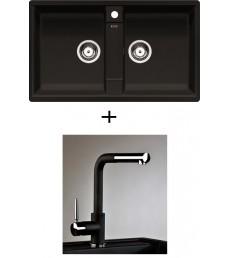 SET - Spüle Blanco Zia 9 mit Armatur Alano CR - mit herausziehbarer Schlauchbrause, 7 Farben